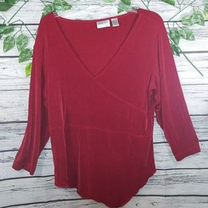 Chico's Travelers  vneck long sleeve red blouse XL